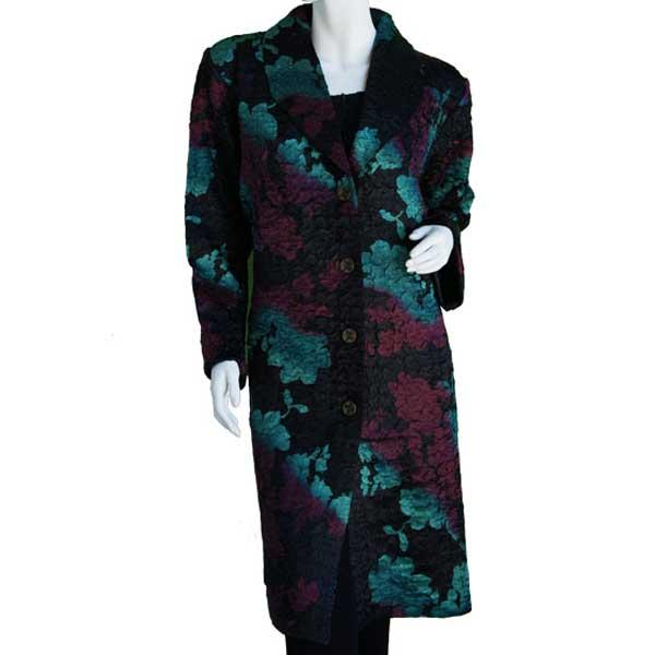Satin Crushed Car Coat * Floral - Black-Rust-Hunter -  S