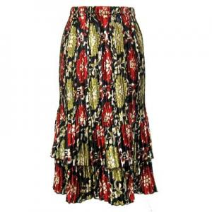 wholesale Overstock and Clearance Skirts, Pants, & Dresses  Satin Mini Pleat Tiered Skirt - Medallion Gold-Red - S-XL