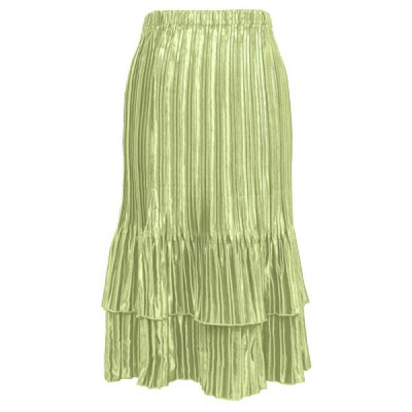 wholesale Overstock and Clearance Skirts, Pants, & Dresses  Satin Mini Pleat Tiered Skirt - Solid Celery - S-XL
