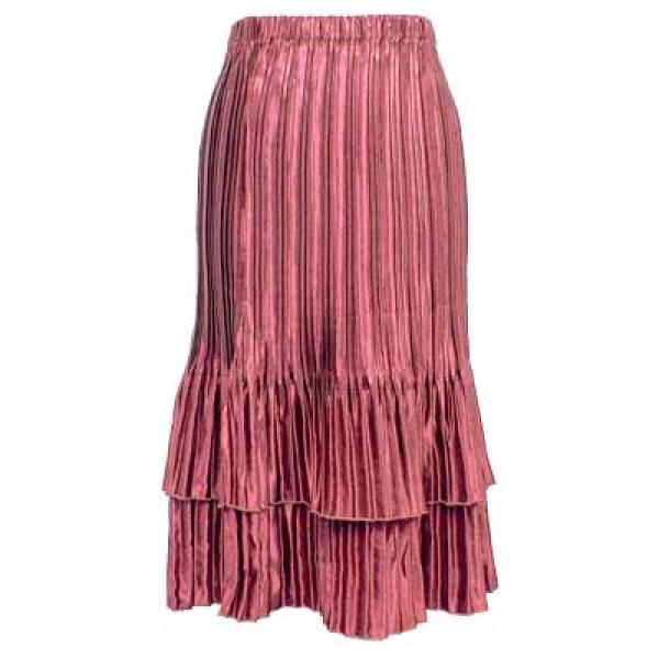 wholesale Overstock and Clearance Skirts, Pants, & Dresses  Satin Mini Pleat Tiered Skirt - Solid Dusty Rose - S-XL