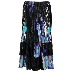wholesale Overstock and Clearance Skirts, Pants, & Dresses  Satin Mini Pleat Tiered Skirt -Pink Purple Floral on Black - S-XL