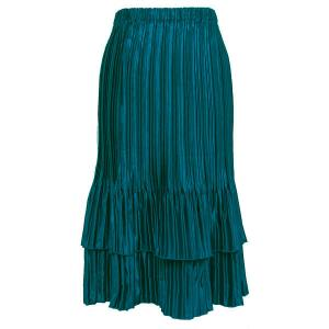 wholesale Overstock and Clearance Skirts, Pants, & Dresses  Satin Mini Pleat Tiered Skirt - Solid Dark Turquoise - S-XL