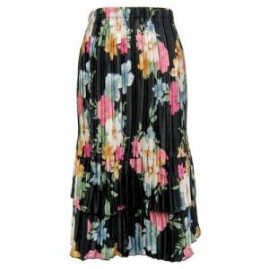 wholesale Overstock and Clearance Skirts, Pants, & Dresses  Satin Mini Pleat Tiered Skirts - Black Floral - S-XL
