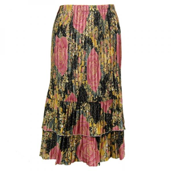 wholesale Overstock and Clearance Skirts, Pants, & Dresses  Satin Mini Pleat Tiered Skirts - Black Pink Rose Floral - S-XL