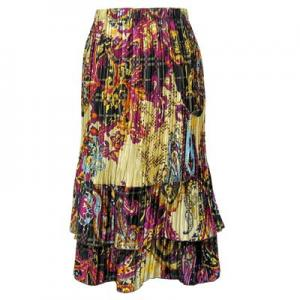 wholesale Overstock and Clearance Skirts, Pants, & Dresses  Satin Mini Pleat Tiered Skirts - Paisley Plaid Magenta - S-XL