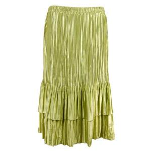 wholesale Overstock and Clearance Skirts, Pants, & Dresses  Satin Mini Pleat Tiered Skirts - Solid Leaf Green - S-XL