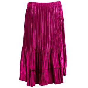 wholesale Overstock and Clearance Skirts, Pants, & Dresses  Satin Mini Pleat Tiered Skirts - Solid Magenta - S-XL