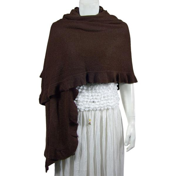 wholesale Overstock and Clearance Scarves & Accessories  Shawls - Ruffle Knit - Dark Brown - One Size Fits All