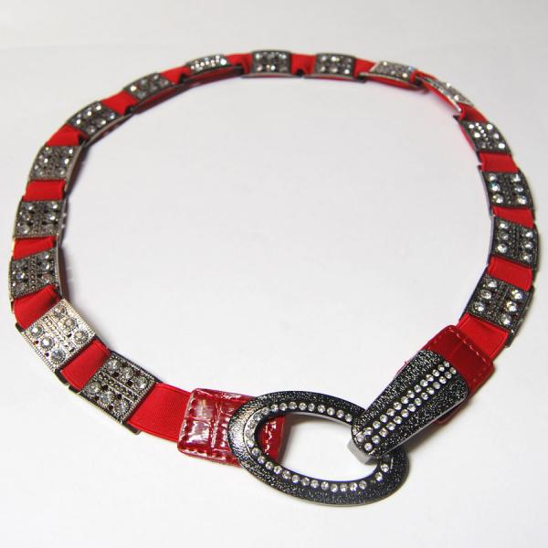 wholesale Overstock and Clearance Scarves & Accessories  Crystal Stretch Belt L6051 - Red - One Size Fits All