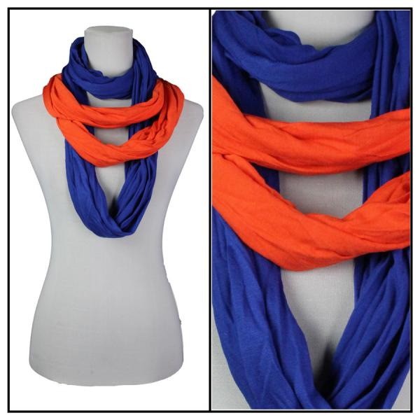 wholesale Overstock and Clearance Scarves & Accessories  Double Infinity Scarf - Orange-Blue - One Size Fits All