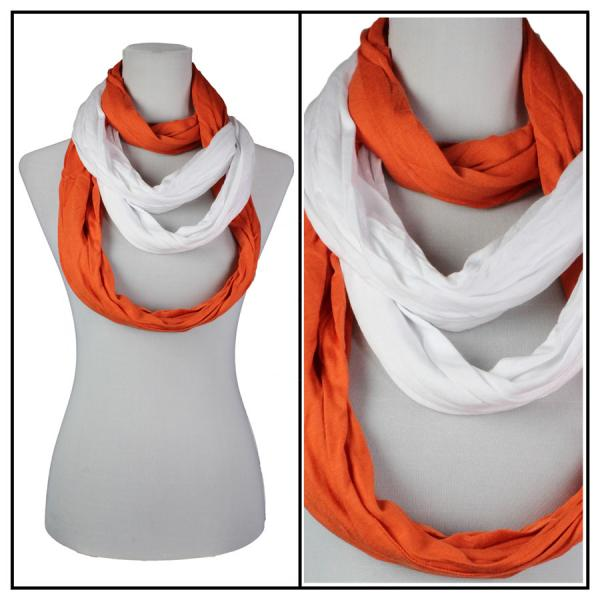 wholesale Overstock and Clearance Scarves & Accessories  Double Infinity Scarf - Orange-White - One Size Fits All
