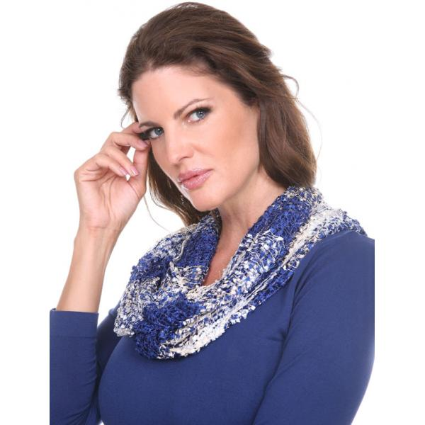 wholesale Overstock and Clearance Scarves & Accessories  Infinity Scarf - Confetti 26791 Beige-Navy - One Size Fits All