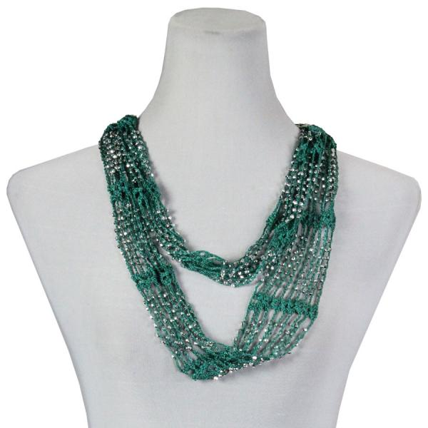 wholesale Overstock and Clearance Scarves & Accessories  Shanghai Infinity Scarf - Sea Green w/ Silver Beads - One Size Fits All