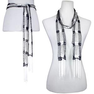 wholesale Overstock and Clearance Scarves & Accessories  Shanghai Beaded - Navy-White w/ Silver Beads - One Size Fits All