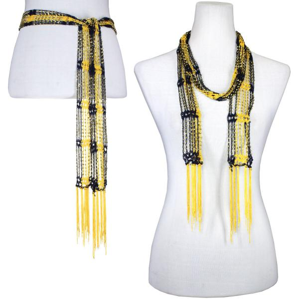 wholesale Overstock and Clearance Scarves & Accessories  Shanghai Beaded - Navy-Gold w/ Gold Beads - One Size Fits All