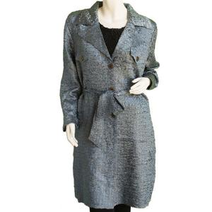 Satin Crushed Trench Coat w/ Belt Solid Charcoal - S