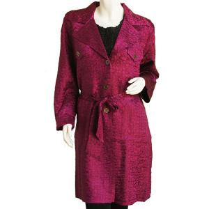 Satin Crushed Trench Coat w/ Belt Solid Wine - S