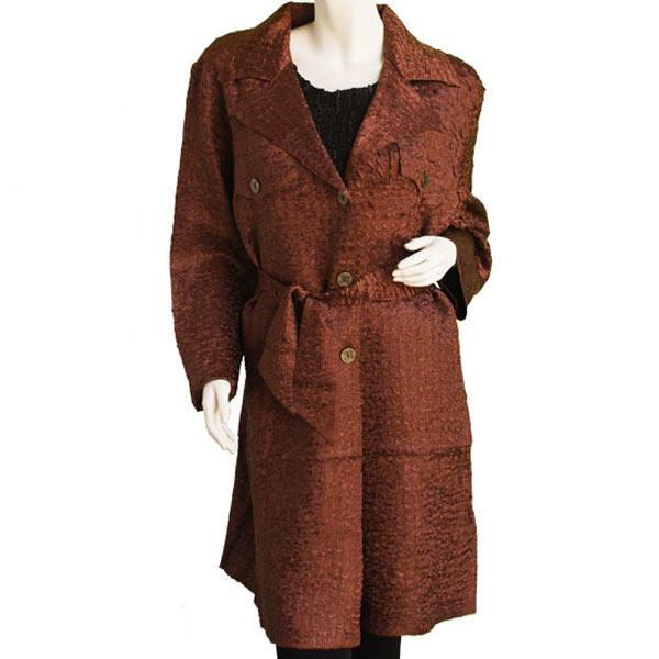 Satin Crushed Trench Coat w/ Belt Solid Brown - XL-2X