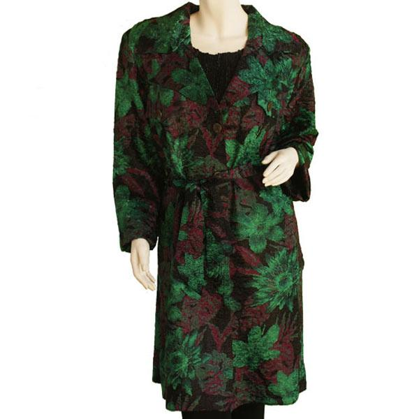 Satin Crushed Trench Coat w/ Belt Floral - Black-Rust-Green -  S
