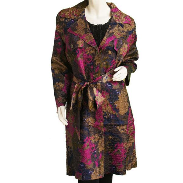 Satin Crushed Trench Coat w/ Belt Floral - Navy-Taupe-Magenta -  S