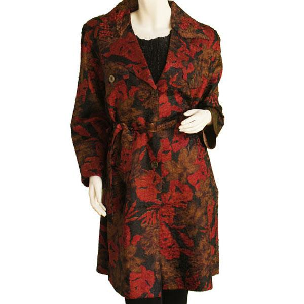 Wholesale Satin Crushed Trench Coat w/ Belt Floral - Red-Black-Taupe -  S