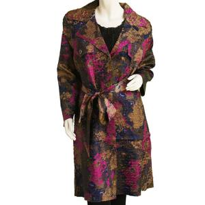 Satin Crushed Trench Coat w/ Belt Floral - Navy-Taupe-Magenta - M-L