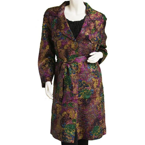 Satin Crushed Trench Coat w/ Belt Abstract Purple-Gold Satin Crushed Trench Coat w/ Belt - M-L