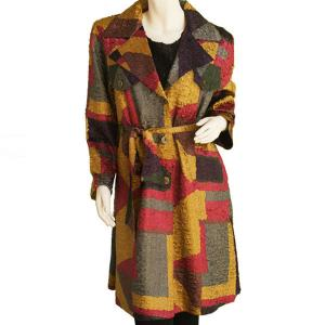 Satin Crushed Trench Coat w/ Belt Block Print Brown-Slate - XL-2X
