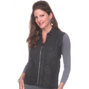 Wholesale  Black Diamond Zipper Vest - One Size (S-L)