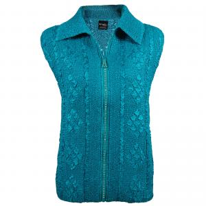 Wholesale  Teal Diamond Zipper Vest - One Size (S-L)