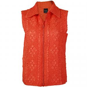 Wholesale  Orange Diamond Zipper Vest - One Size (S-L)
