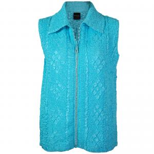 Wholesale  Light Aqua Diamond Zipper Vest - One Size Fits (S-L)