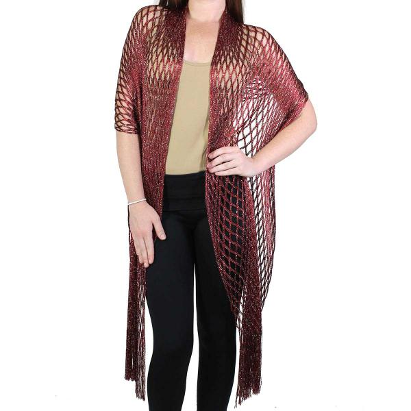 Shawls - Metallic Fishnet 0636 Burgundy -