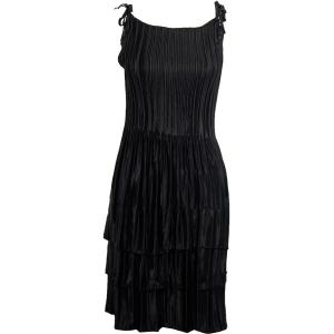 Wholesale  Solid Black Satin Mini Pleat - Spaghetti Dress -