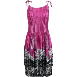 Wholesale  Flowers and Dots 2 Pink-White Satin Mini Pleat - Spaghetti Dress -