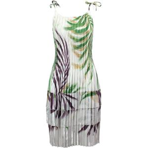 Wholesale  Palm Leaf Green-Purple Satin Mini Pleat - Spaghetti Dress -