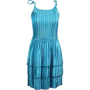Wholesale  Solid Aqua Satin Mini Pleat - Spaghetti Dress -