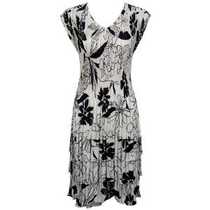 wholesale Satin Mini Pleats - Cap Sleeve Dress Floral - Black on White - One Size (S-XL)