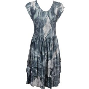 wholesale Satin Mini Pleats - Cap Sleeve Dress Silver Abstract - One Size (S-XL)
