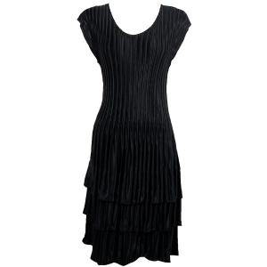 wholesale Satin Mini Pleats - Cap Sleeve Dress Solid Black - One Size (S-XL)