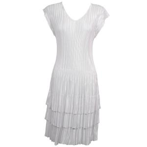 wholesale Satin Mini Pleats - Cap Sleeve Dress Solid White - One Size (S-XL)