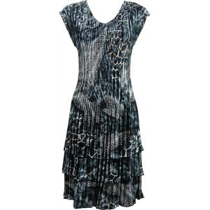 wholesale Satin Mini Pleats - Cap Sleeve Dress Reptile Black-Grey - One Size (S-XL)