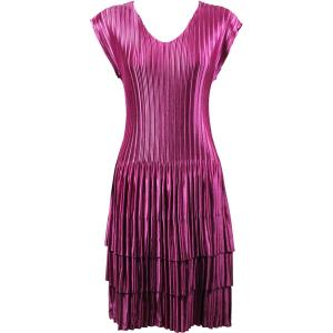 wholesale Satin Mini Pleats - Cap Sleeve Dress Solid Orchid - One Size (S-XL)