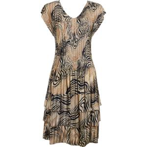 wholesale Satin Mini Pleats - Cap Sleeve Dress Swirl Animal - One Size (S-XL)