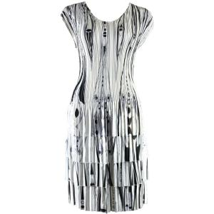 wholesale Satin Mini Pleats - Cap Sleeve Dress Abstract Shapes Black-White - One Size (S-XL)