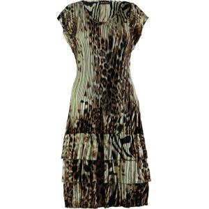 wholesale Satin Mini Pleats - Cap Sleeve Dress Bronze Leopard - One Size (S-XL)