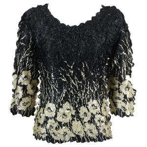 Wholesale  Ivory Poppies on Black Satin Petal Shirt - Three Quarter Sleeve - One Size (S-XL)