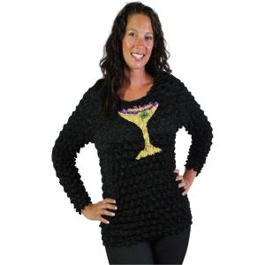 Applique Martini Popcorn Applique Long Sleeve - Martini Glass - One Size (S-XL)