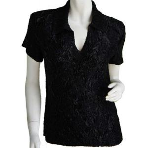 wholesale Magic Crush Diamond Short Sleeve w/ Collar * Black - One Size (S-L)