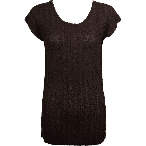 Magic Crush Georgette - Cap Sleeve Tunic* Solid Dark Brown - One Size  Fits (S-M)